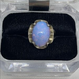Sterling Silver w/ Imitation Opal Ring Size 8.5